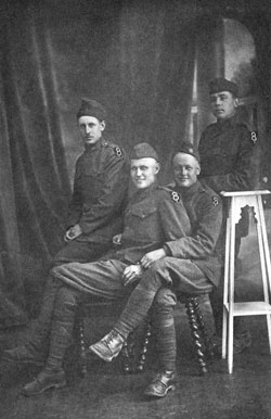 """""""Two of my cousins came back in caskets. ... Another cousin came back shell-shocked."""" Pictured here with several friends in France. Ivan A. Farnswerth (third from the left) died in 1989 at 92 years of age."""
