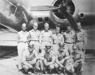 """""""I told my squadron public relations officer that the only mission I'd accept a Distinguished Flying Cross for was ... when the group commanding officer wanted to court-martial me."""" J. Keith Melville (front row, first on left) with his crew."""