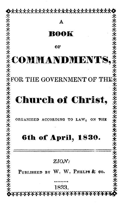 [p.56] Title Page of Book of Commandments
