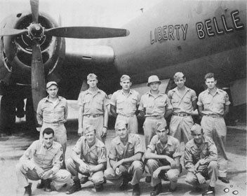 """""""They brought in some Red Cross stationery and said we could write home…. I just put in big bold letters, 'Who are you monkeys trying to kid?' Ten minutes later … I took another working over:"""" G. Easton Brown (front row, second from left) with his crew."""