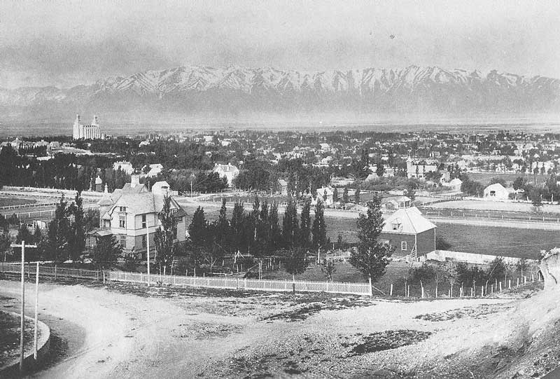 111. The Logan temple overlooks the town of Logan in the 1880s in this view taken by Savage from what later  would be known as Old Main Hill on the campus of Utah State University.