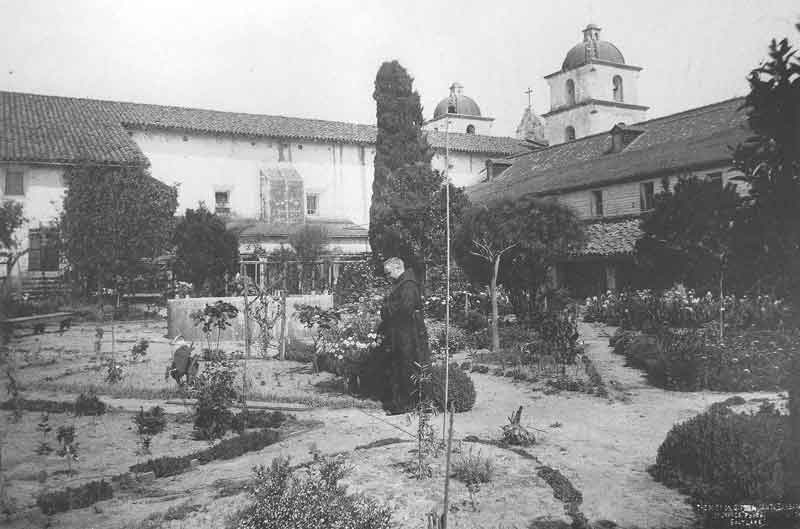 [p.103] 114. James E. Talmage dons the robes of a Franciscan monk to have his picture taken by Savage in the garden of the Catholic mission in Santa Barbara in 1887.