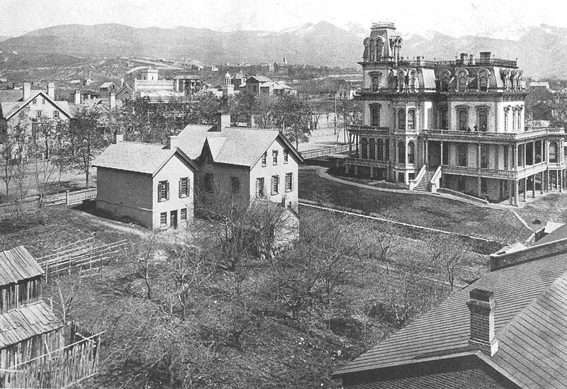 116. From the roof of ZCMI Savage captures this vista of the northeast section of Salt Lake City, including the old Brigham Young Estate and the Gardo House, which then served as headquarters of the Latter-day Saint church.
