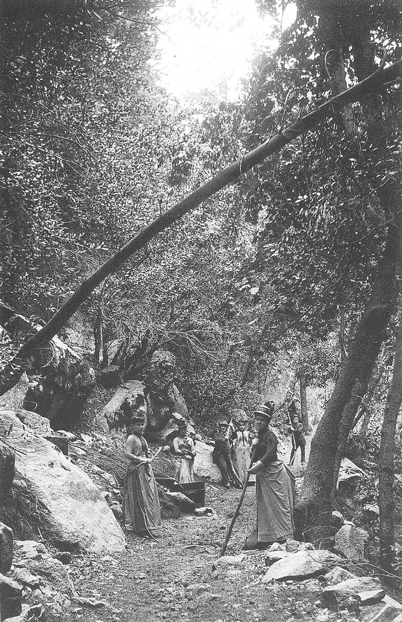 121. On another trip to California in the early 1890s, Savage hiked to Vernal Falls in Yosemite Valley. His party is shown here with their hiking sticks on the trail.