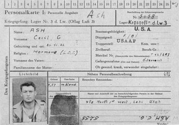 """""""The first thing the Germans did was put me in a small single room in solitary confinement:"""" C. Grant Ash's prisoner of war information card for his internment in Luft Stalag 3 near Sagan, Germany."""