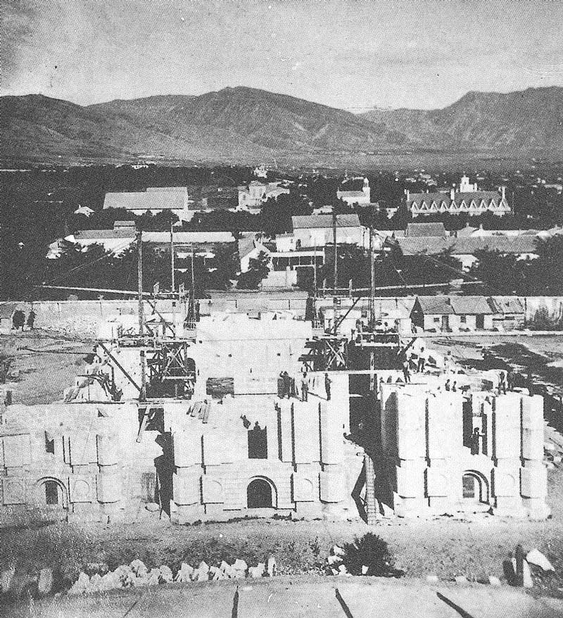 139. A view from the top of the newly-completed tabernacle shows how the temple foundation looked in 1877, the year Brigham Young died.