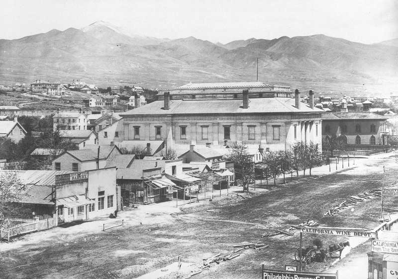 [p.138] 142. The Salt Lake Theatre at First East and First South was completed in 1862 and could seat 1,700 people. This view by Carter was taken sometimes after he opened for business in 1868.