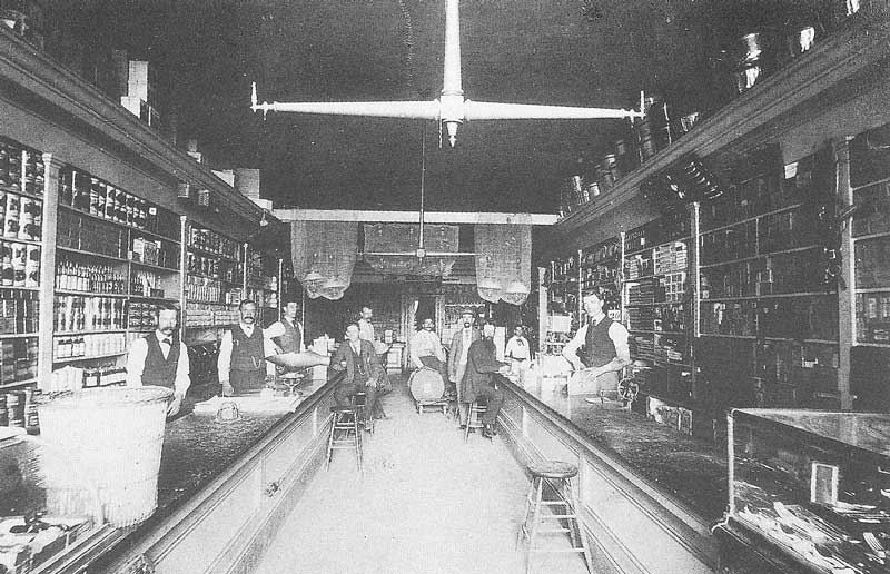 145. Clerks in Samuel Teasdel's general merchandise store on East Temple Street pause to have their picture taken sometime around 1868.