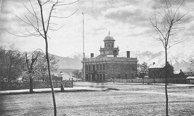 146. The Salt Lake City Hall at First South between First and Second East streets on a clear winter's day in 1872.