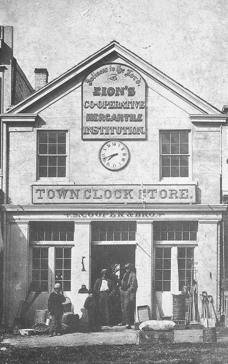 147. The Town Clock Store on East Temple Street, pictured in 1869, was one of the first to join the LDS church-sponsored cooperative movement.