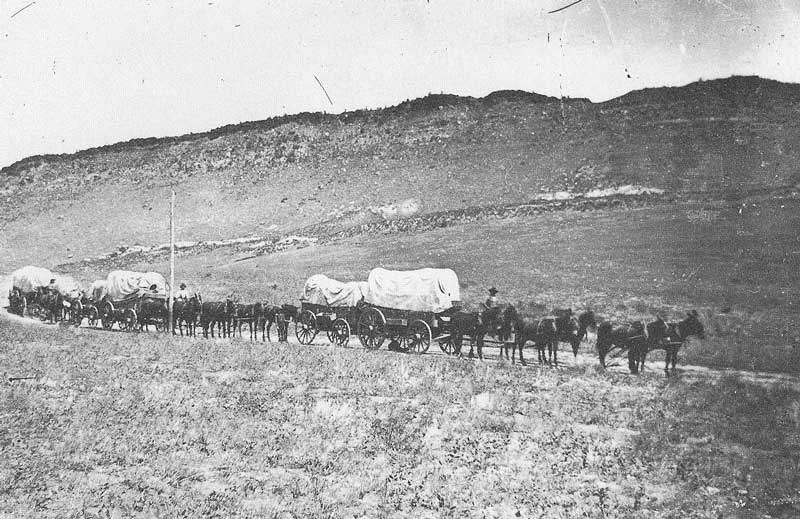 [p.144] 148. Covered freight wagons approach Utah from the plains and arrive on East Temple Street in 1868 with merchandise from the east. The wagon train wends its way down the road near Echo Canyon.