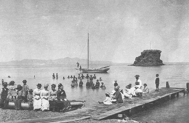 150. The Great Salt Lake is on the rise at Black Rock in the early 1870s. Boating and swimming are favorite pastimes.