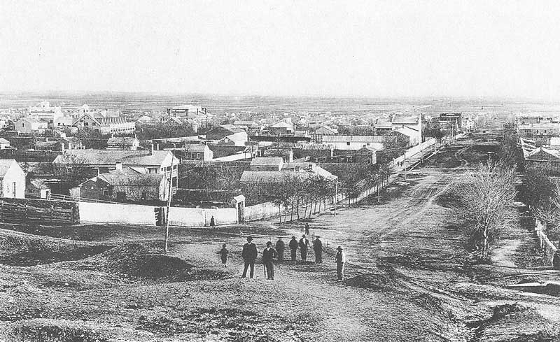 153. Carter set his camera up at the top of East Temple Street and made this view looking south in 1870.