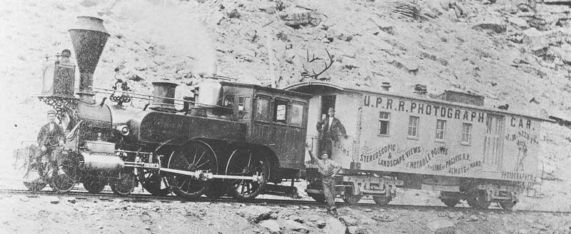 164. J. B. Silvis's U.P.R.R. Photograph Car near Point of the Rocks, Wyoming. After leaving the Carter & Silvis partnership in 1868, Silvis joined the photo crew documenting construction of the Union Pacific Railroad and continued as a traveling photographer on the rails.
