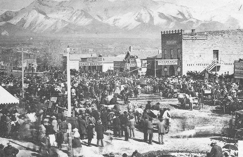 "173. A crowd gathers in Salt Lake City in 1871, after Brigham Young and others are arrested for ""lascivious cohabitation with polygamous wives,"" Carter writes in his caption."
