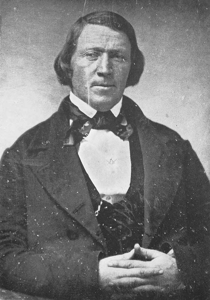 21. Brigham Young, 1850. Copy of the original daguerreotype by Marsena Cannon in LDS church archives, reportedly taken in Cannon's gallery in the Old Fort in December 1850, about the time U.S. president Millard Fillmore appointed the Mormon prophet governor of the Utah Territory.
