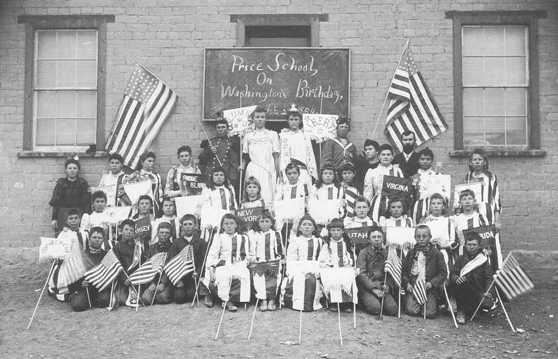 [p.190] 197. Students at Price public school on Washington's birthday in 1894.