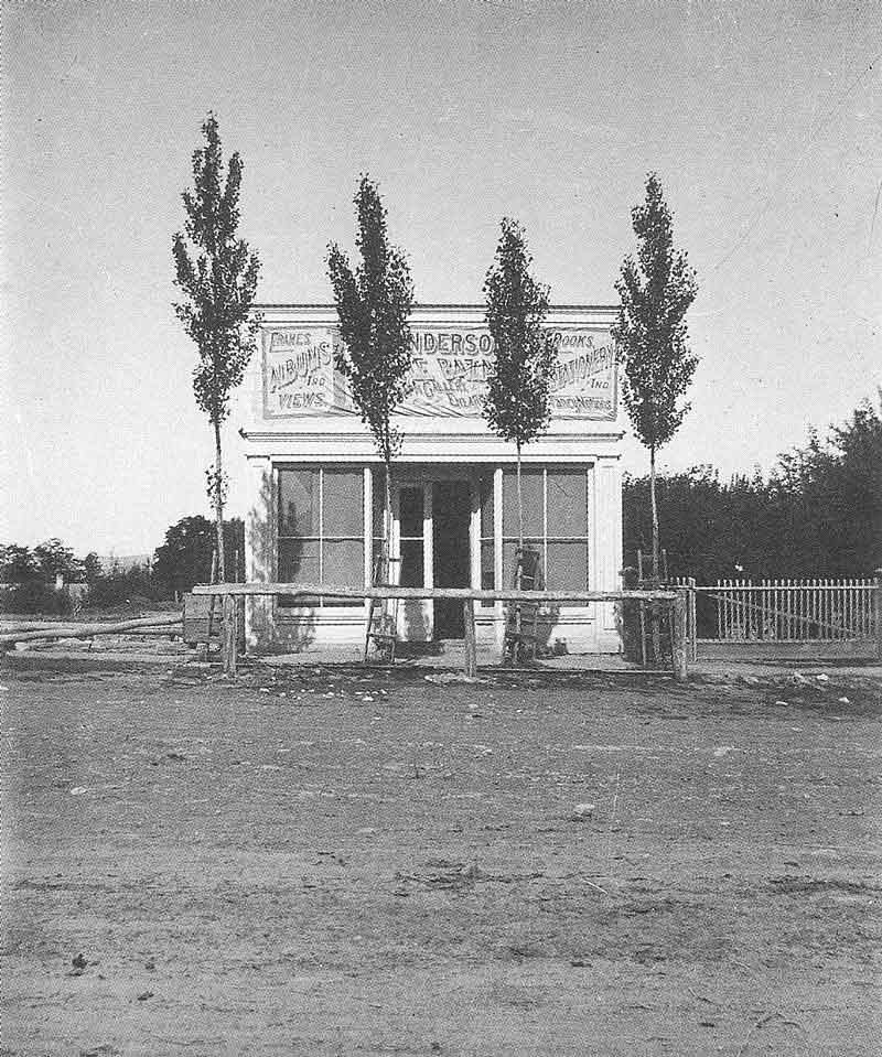 "203. Anderson's ""Temple Bazar"" in Manti, Utah, stood alone on Main Street, pictured here in the late 1880s."