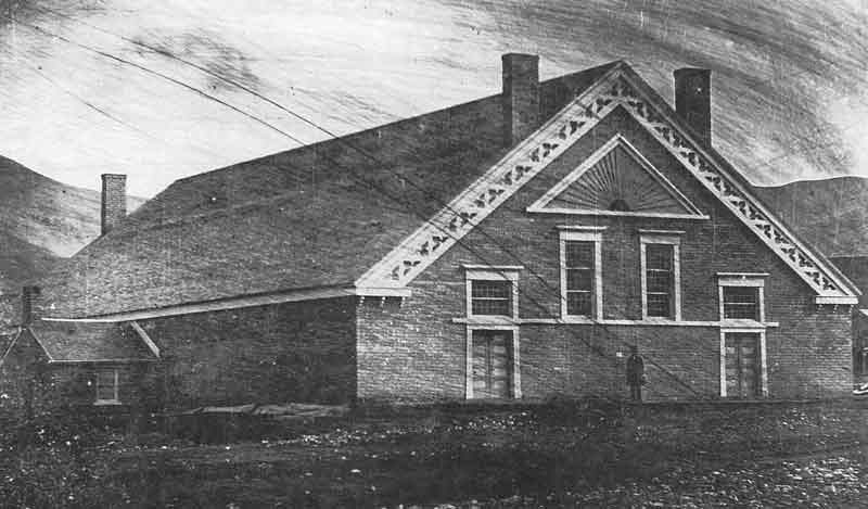 23. The first tabernacle built in Utah was an adobe brick structure located on the southwest corner of the Temple Block, where the Assembly Hall is today.