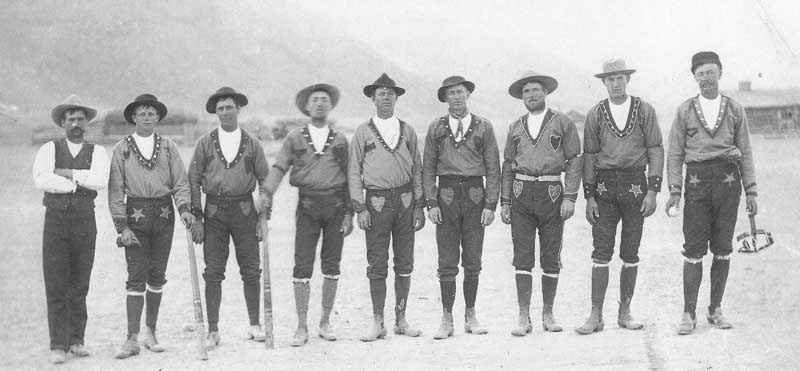 [p.199] 210. The baseball team in Elsinore, Utah, poses in their new uniforms, probably hand-sewn by their wives. The picture was taken in 1895.