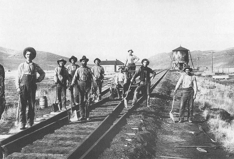 [p.206] 217. A section crew works on the D&RGW tracks at Indianola, Utah, in 1900. The crew is led by Stanley Gardner (far left) who would later die when his handcart was struck head-on by a locomotive.