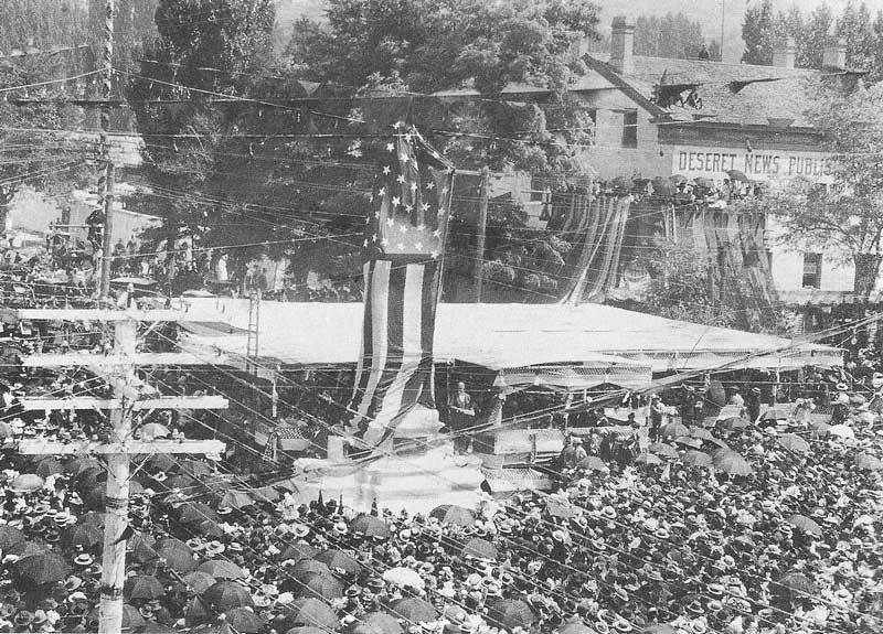 227. The unveiling of the Brigham Young statue, which was moved from Temple Square to the intersection of Main and South Temple streets, was one of the highlights of the 1897 celebration. The statue was originally displayed at the 1892 Columbian Exposition in Chicago. It would later be transferred to a much higher platform.