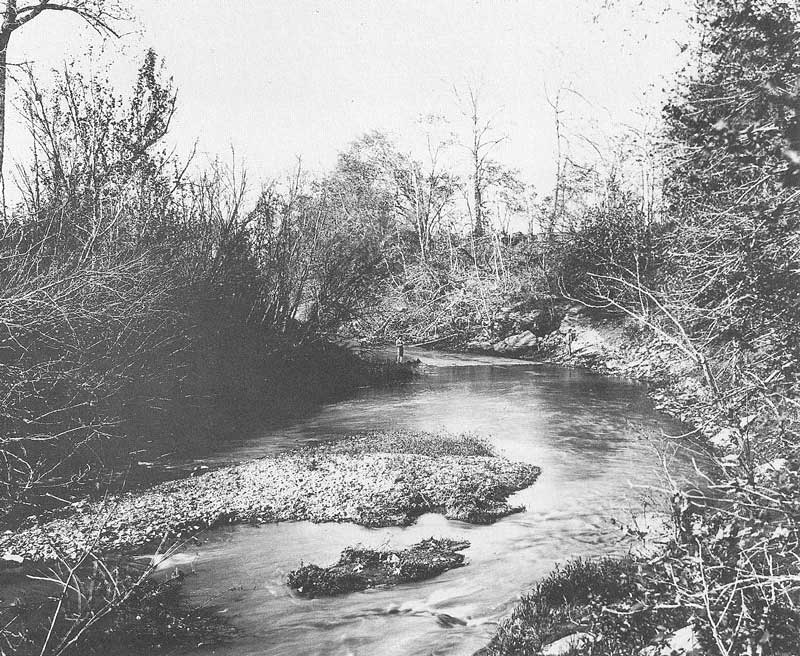 229. A boy fishes on the banks of Shoal Creek Caldwell County, Missouri, site of the 1838 Haun's Mill Massacre, just upstream from where the boy is fishing. Anderson took this view on 23 May 1907.