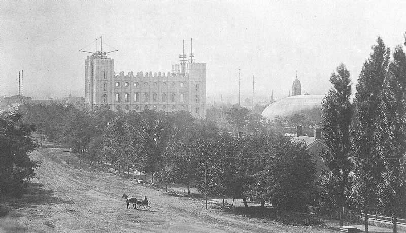 [p.236] 244. The Salt Lake temple's towers rise toward the sky in 1886-87, when Salt Lake City was Crockwell's home base and he was traveling through the small towns of Utah and Nevada.