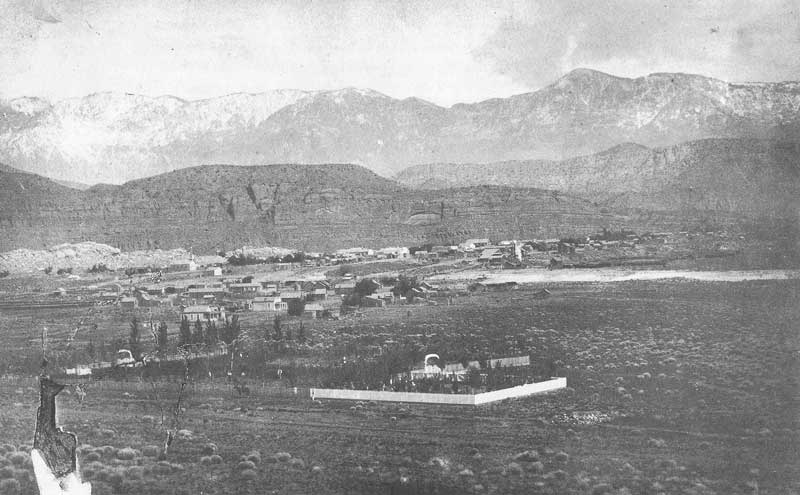 "[p.238] 247. A damaged albumen cabinet photo shows Crockwell's 1885 view of Silver Reef, a mining boom town. ""In nine weeks I cleared $1,000,"" Crockwell wrote."