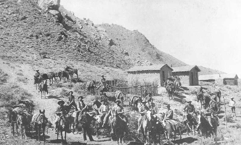 [p.242] 251. A horse- and mule-pack team in Nevada in 1886-87.
