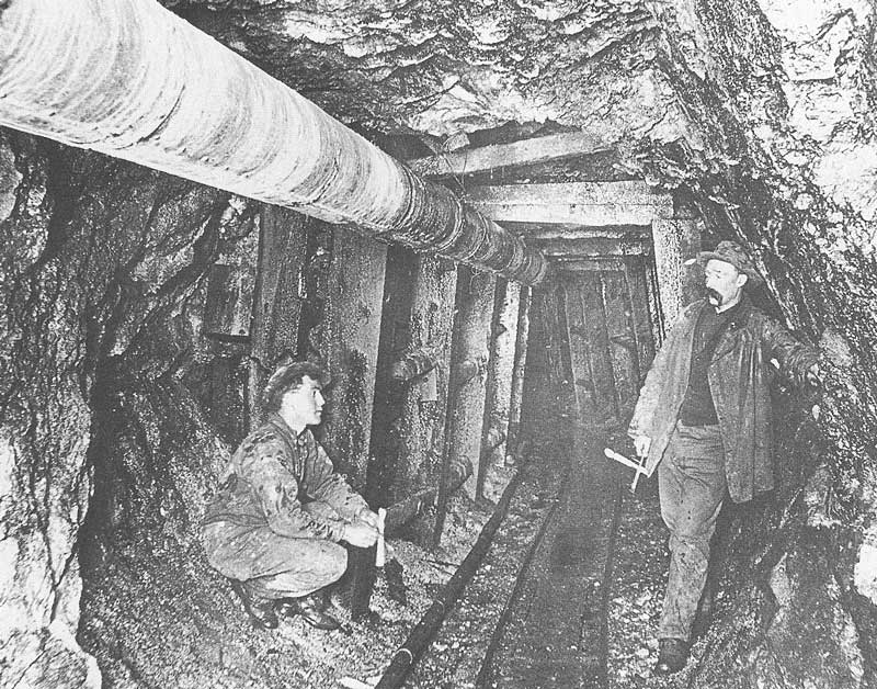 264. Crockwell used magnesium powder to illuminate this tunnel scene deep underground in Park City.