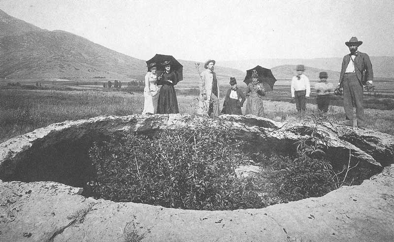 268. Tourists look into one of the Hot Pots at Heber City in 1891.