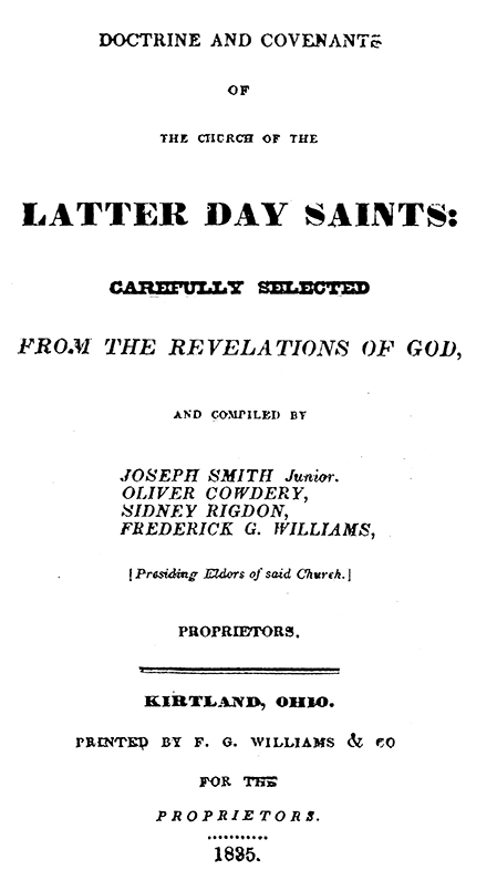 [p.262] Title Page of 1835 Doctrine and Covenants