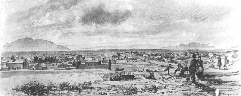 36. J. Wesley Jones's sketch of Great Salt Lake City was made from a daguerreotype he took in 1851 while on a photographing trip across the United States. The original daguerreotypes are lost, but the above sketch has been preserved.