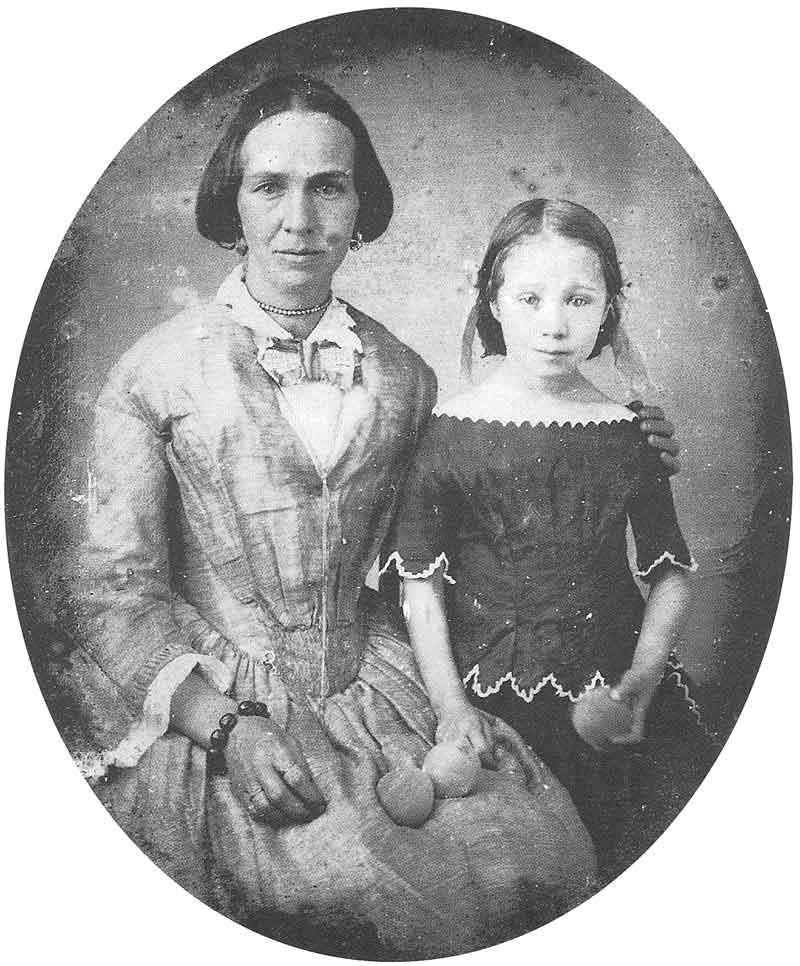 37. Zina D. H. Young, wife of Brigham Young, and their daughter, Zina, have their picture taken in Marsena Cannon's gallery sometime in the 1850s. The original daguerreotype is in the extensive collection of daguerreotypes, ambrotypes, and tintypes at the Daughters of the Utah Pioneers Museum, Salt Lake City.