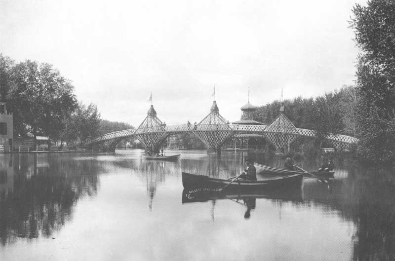 [p.285] 289. A unique wooden bridge spanned Calder's Lake, a popular resort that once stood where Salt Lake City's Nibley Park Golf Course now stands.