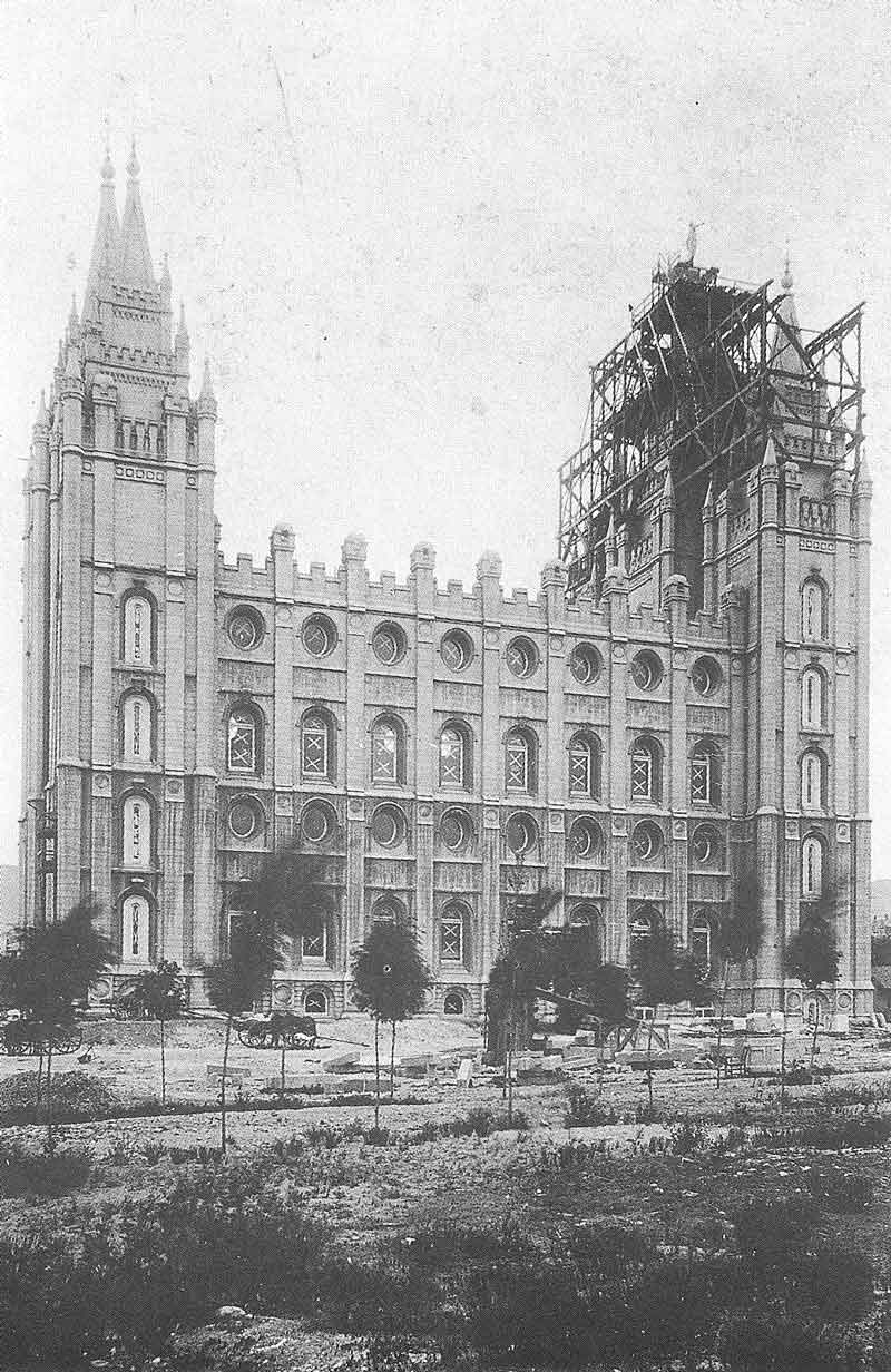 294. Temple Square after the capstone ceremony crowds have departed on April 1892. Johnson documented the temple from the time he went into buisness until he left Salt Lake City in 1917.