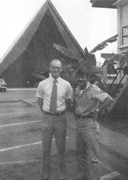 """""""A friend of mine, Captain Monte Larrigan, and I spent many hours together. He was ? president of the Sunday school in our branch on Tan Son Nhut Air Force base."""" David L. Gardner (on right) with Larrigan."""