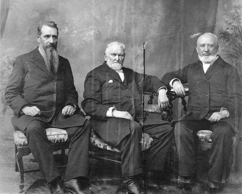 305. The First Presidency of the LDS church on the day the temple was dedicated. From left to right, Joseph F. Smith, second counselor, Wilford Woodruff, president, and George Q. Cannon, first counselor.