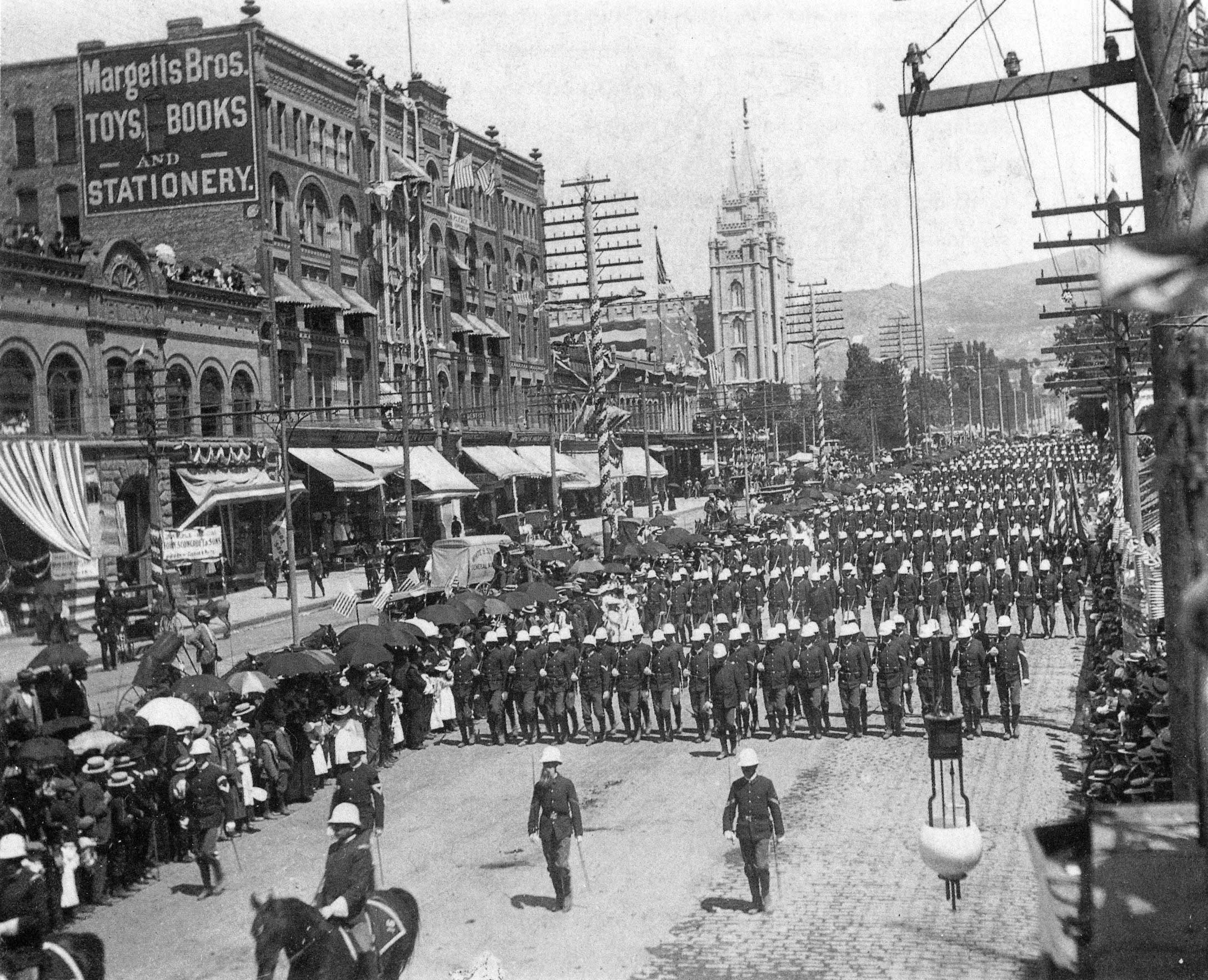 [p.307] 310. Troops march down Main Street in Salt Lake City during the Jubilee Celebration in 1897.