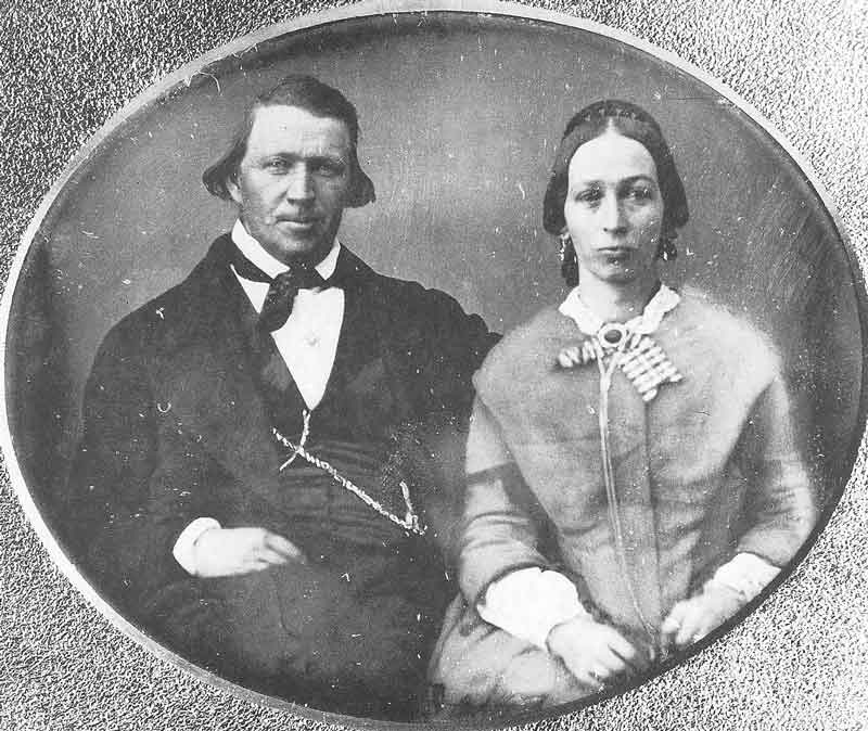 40. A rare daguerreotype portrait shows Brigham Young with Margaret Pierce, one of his plural wives. The Mormon prophet was reluctant to be photographed with his wives. This picture was taken by Marsena Cannon in the late 1850s.