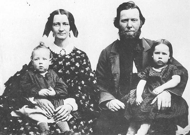 41. One of the finest examples of Utah ambrotypy is this view of a pioneer couple and their children, ca. 1860. The original is held by the Daughters of the Utah Pioneers.