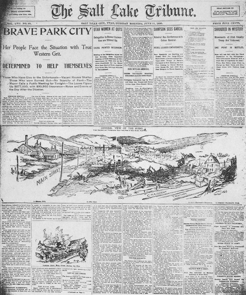 [p.335] 328. The front page of the Salt Lake Tribune for Tuesday morning, 21 June, 1898, shows Harry Shipler's story plus line drawings made from his photographs. More of his photoengravings were published inside.