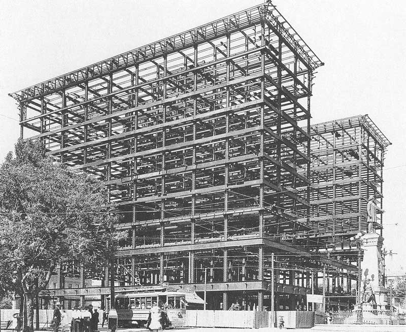 332. The steel superstructure is in place for the new Hotel Utah on 27 May 1910 when photographed by James or Harry Shipler.