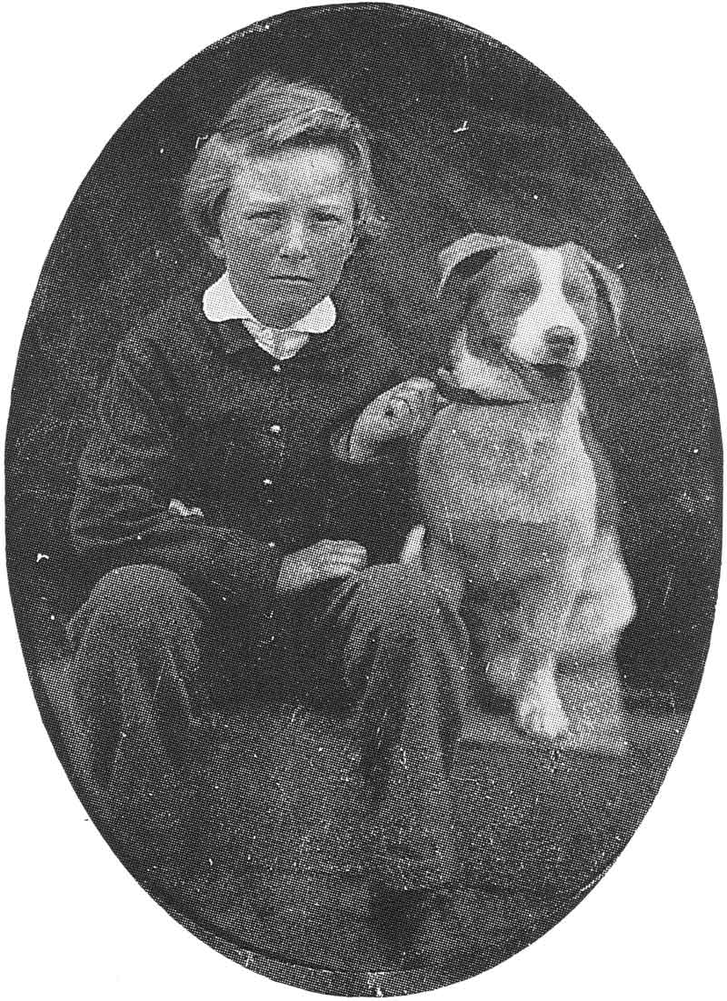 45. An unidentified little boy poses with his dog in this late 1860s tintype.