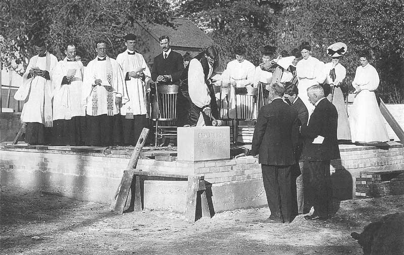 335. Ministers from the Episcopalian Diocese conduct religious rites at the cornerstone-laying for Rowland Hall-St. Mark's School in 1906. The building today houses the private school's administration.
