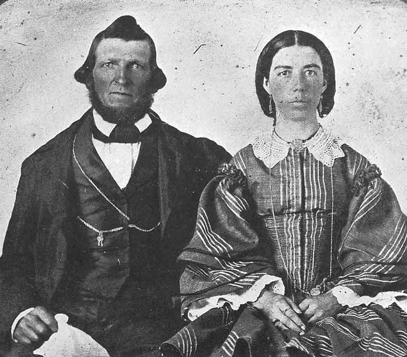 46. Another unidentified pioneer couple pose in this ambrotype frame, ca. 1860.