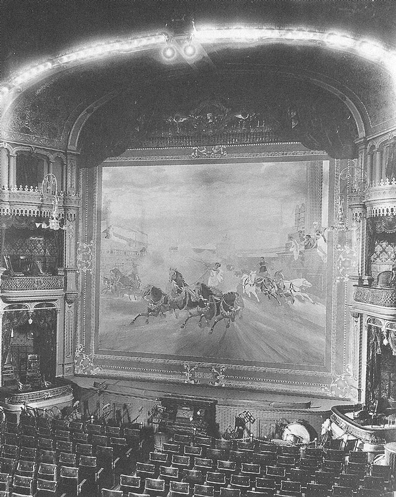 [p.349] 343. The great Ben Hur curtain dominates the stage in the Salt Lake Theatre in 1903. A series of Shipler photographs shows what the theater was like before being torn down in 1929.