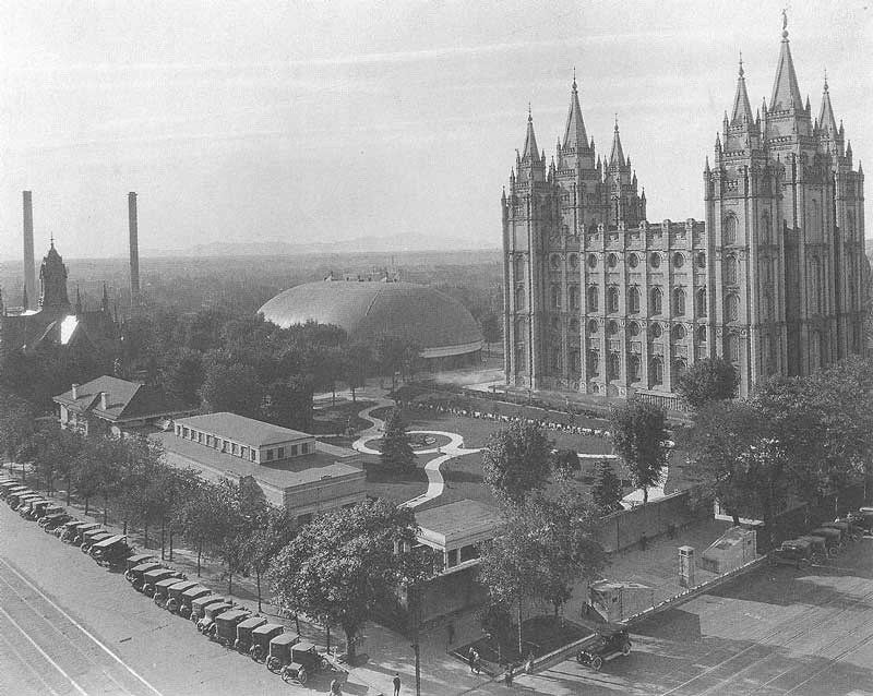 344. Temple Square in the late afternoon sun sometime in the 1920s. Although Harry Shipler was not Mormon, the temple was one of his favorite subjects.