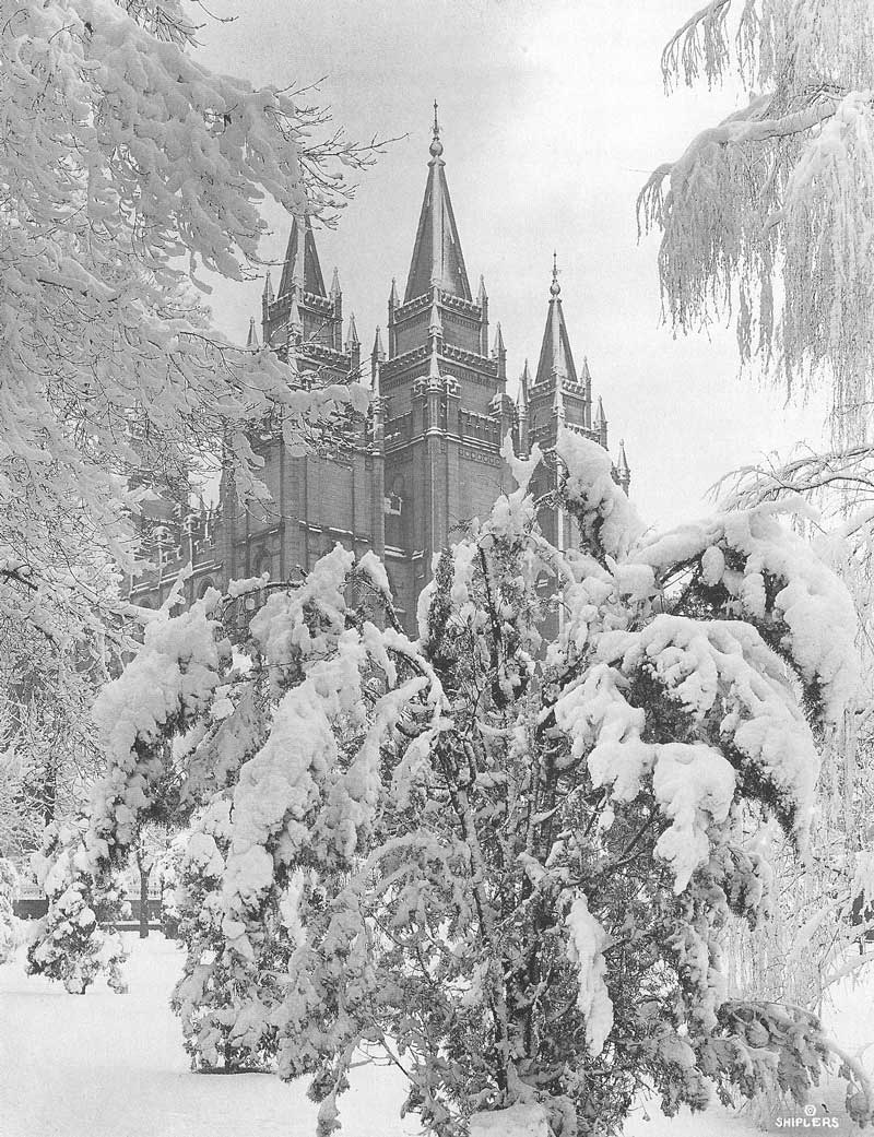 [p.351] 345. A patina of snow covers the Salt Lake temple when Harry Shipler photographed it on a cold winter day in 1912.